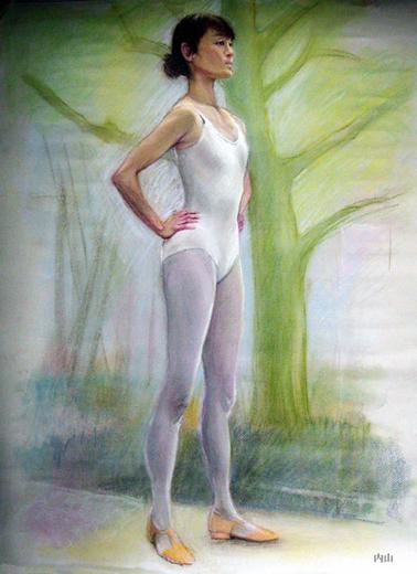2009年作 白い妖精 パステル 2009年作 白い妖精 パステル 2009年作 白い花の前で